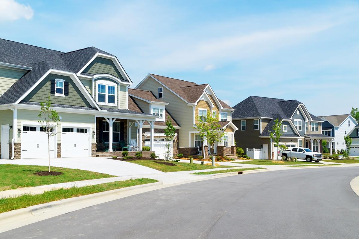 Houses on street in neighborhood